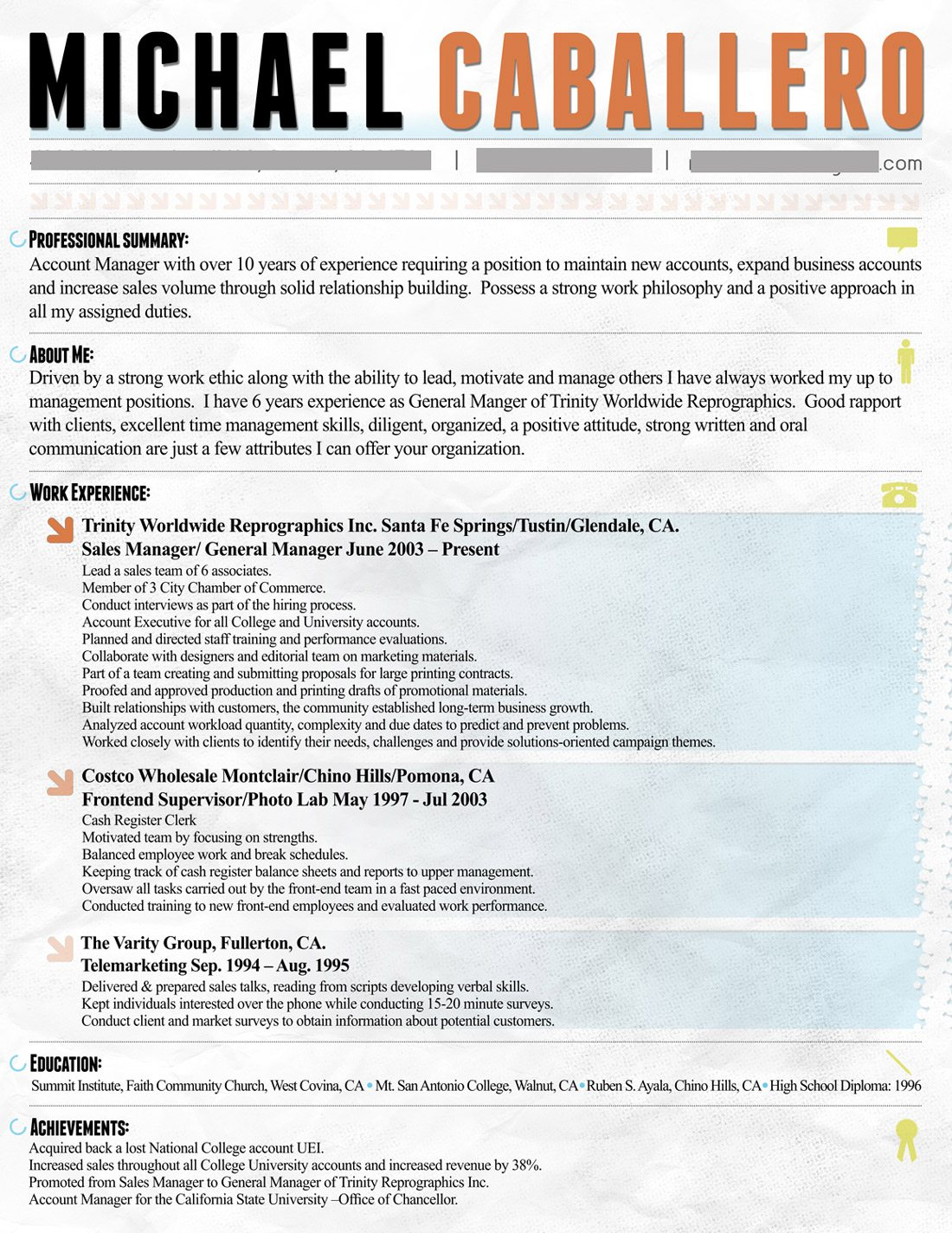 Resume Design  About Me Resume