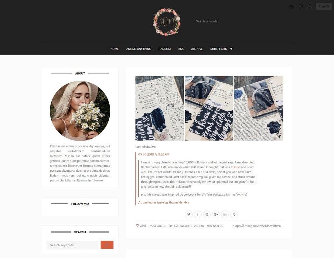 carolaine-tumblr-theme 50+ Best Free & Premium Tumblr Themes 2018 design tips