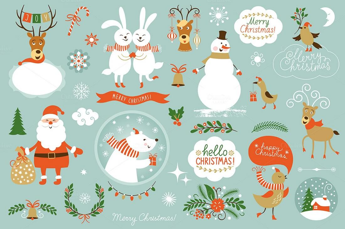 This Pack Includes Plenty Of Beautiful Christmas Icons And Elements Which You Can Use To Design All Sorts Themed Banners Cards More