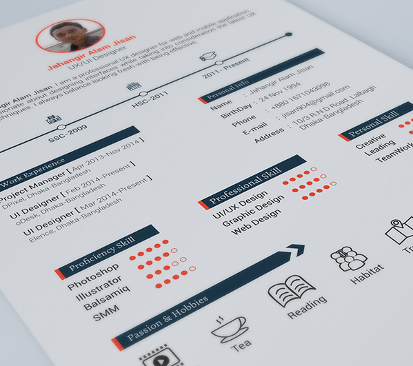 creative orange resume template