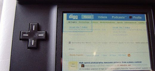 Digg.com close up on Nintendo DS