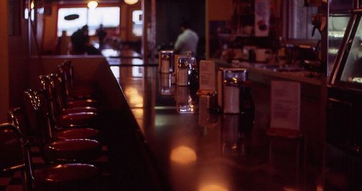 nostalgic '50s diner and bar stools