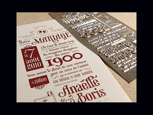 wedding invite final letterpress result by boris forconi