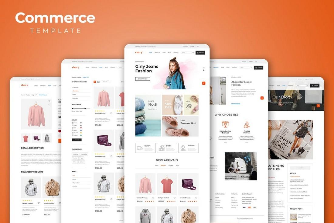 eCommerce Online Store Adobe XD Website Templates