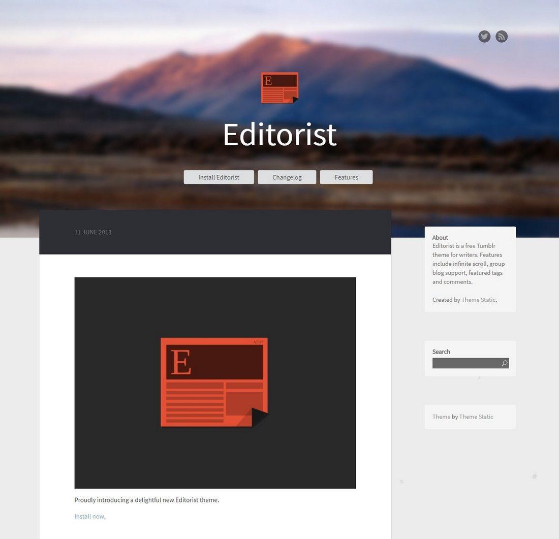 editorist 50+ Best Free & Premium Tumblr Themes 2018 design tips