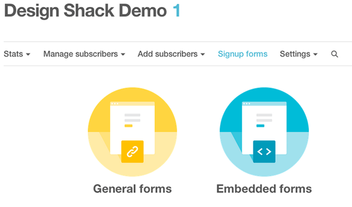 mailchimp dashboard preview screenshot embedded code