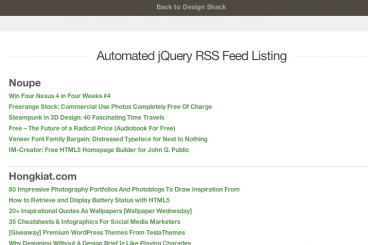 Build an Automated RSS Feed List With jQuery | Design Shack