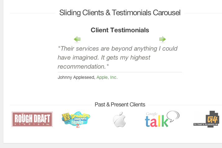 clients slider testimonial carousel tutorial screenshot