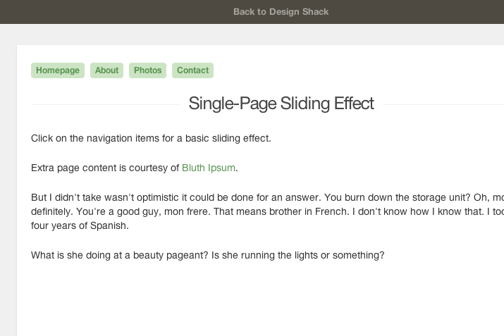 preview single page sliding navigation tutorial howto