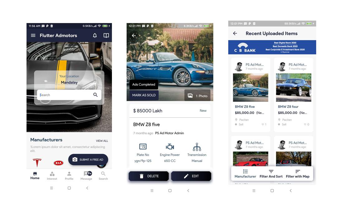 flutter admotors ios app template