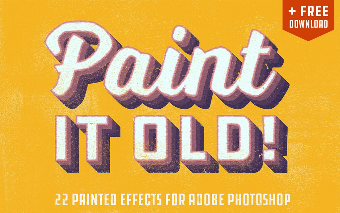 free-vintage-paint-effects 20+ Best Photoshop Layer Styles in 2021 (Free & Premium) design tips