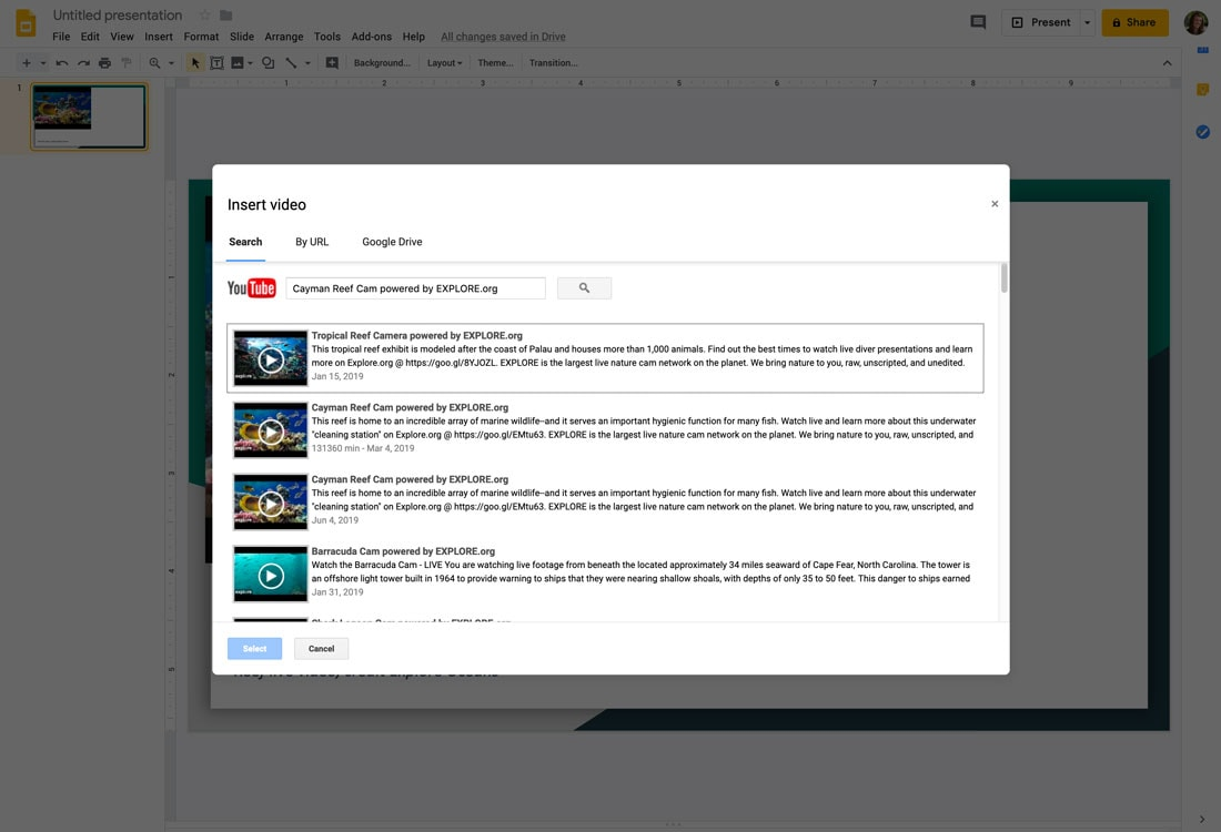 how to embed a youtube video in google slides