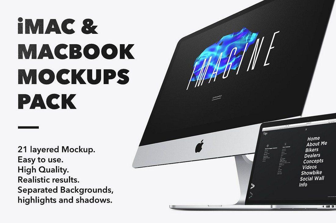 iMac-Macbook-Mockups-pack 40+ iMac Mockup PSDs, Photos & Vectors design tips