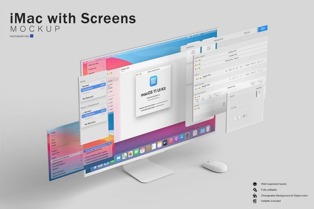 iMac with Screens Website Mockup
