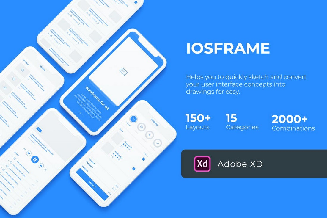 iOSFrame - iOS Wireframe Kit for Adobe XD