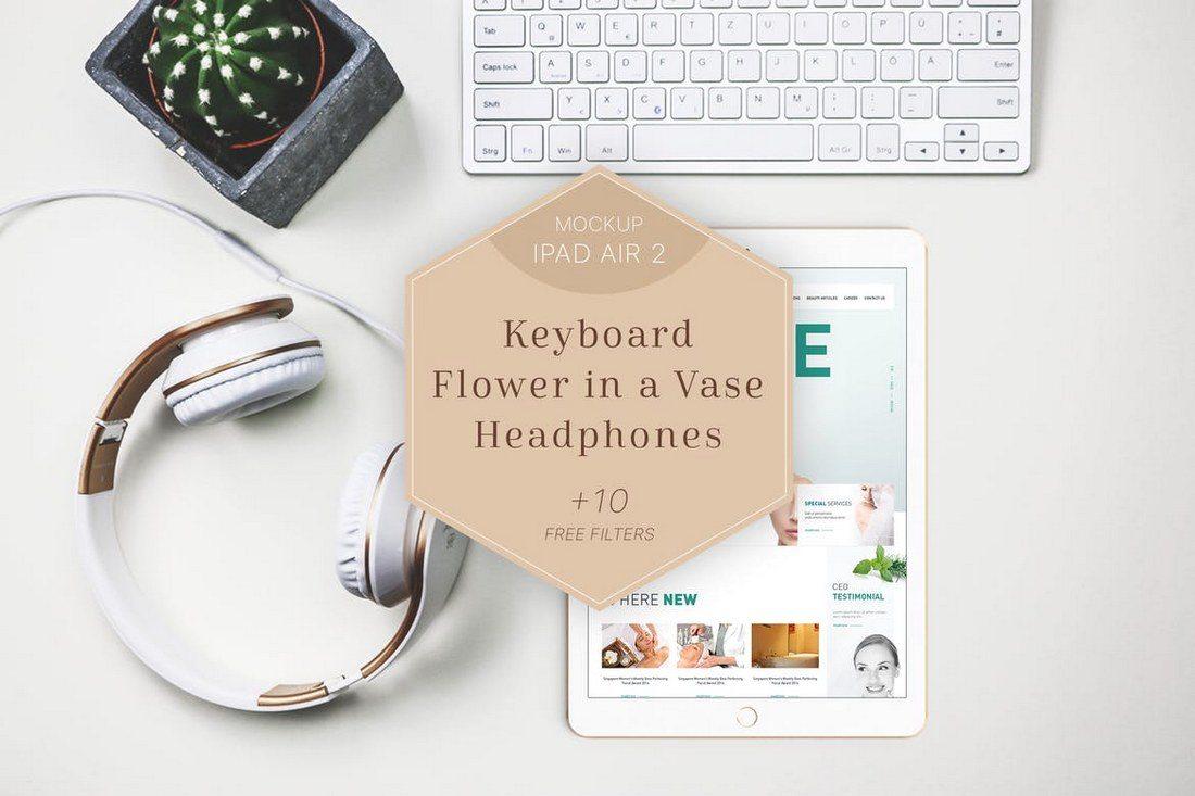 iPad-Air-2-Mockup-Headphones-Flower 100+ iPad Mockups: PSDs, Photos & Vectors design tips