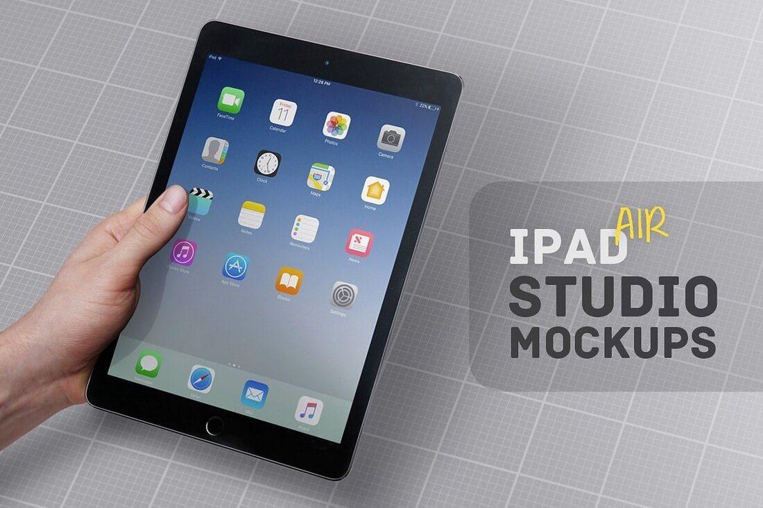iPad-Air-Studio-Mockups 100+ iPad Mockups: PSDs, Photos & Vectors design tips