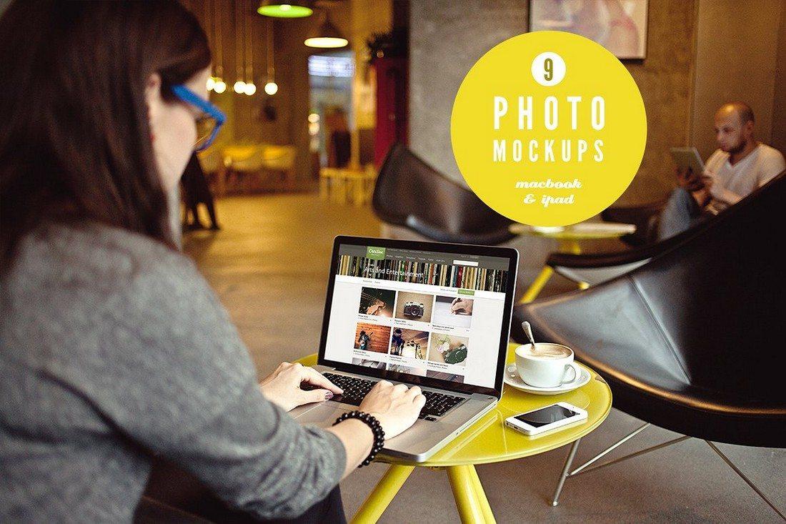 iPad-Macbook-9-photo-mockups 100+ MacBook Mockup Templates (PSD & Vector) design tips