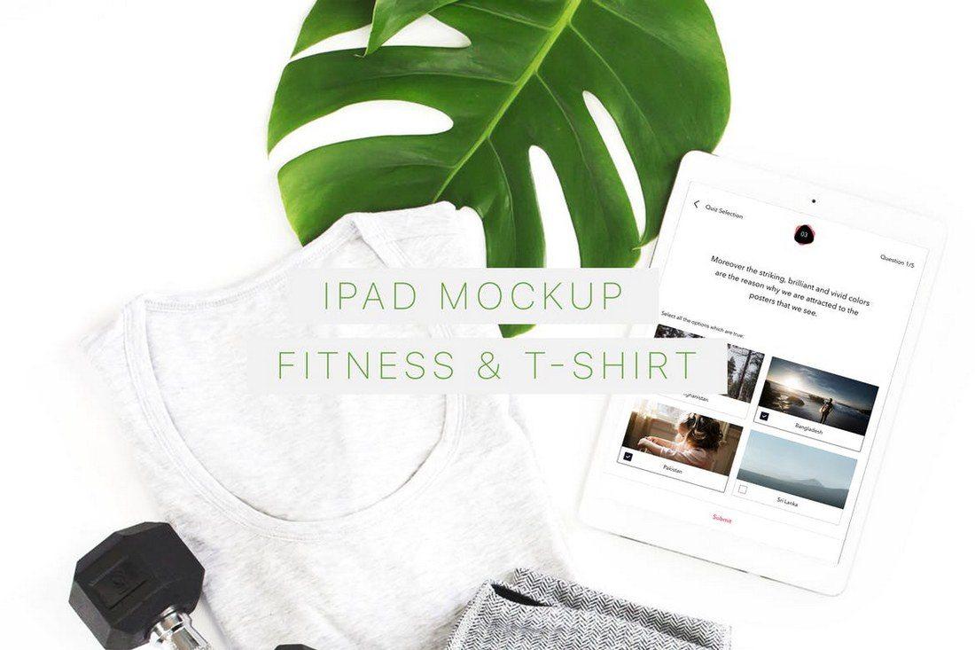 iPad-Mockup-Fitness-T-Shirt 100+ iPad Mockups: PSDs, Photos & Vectors design tips