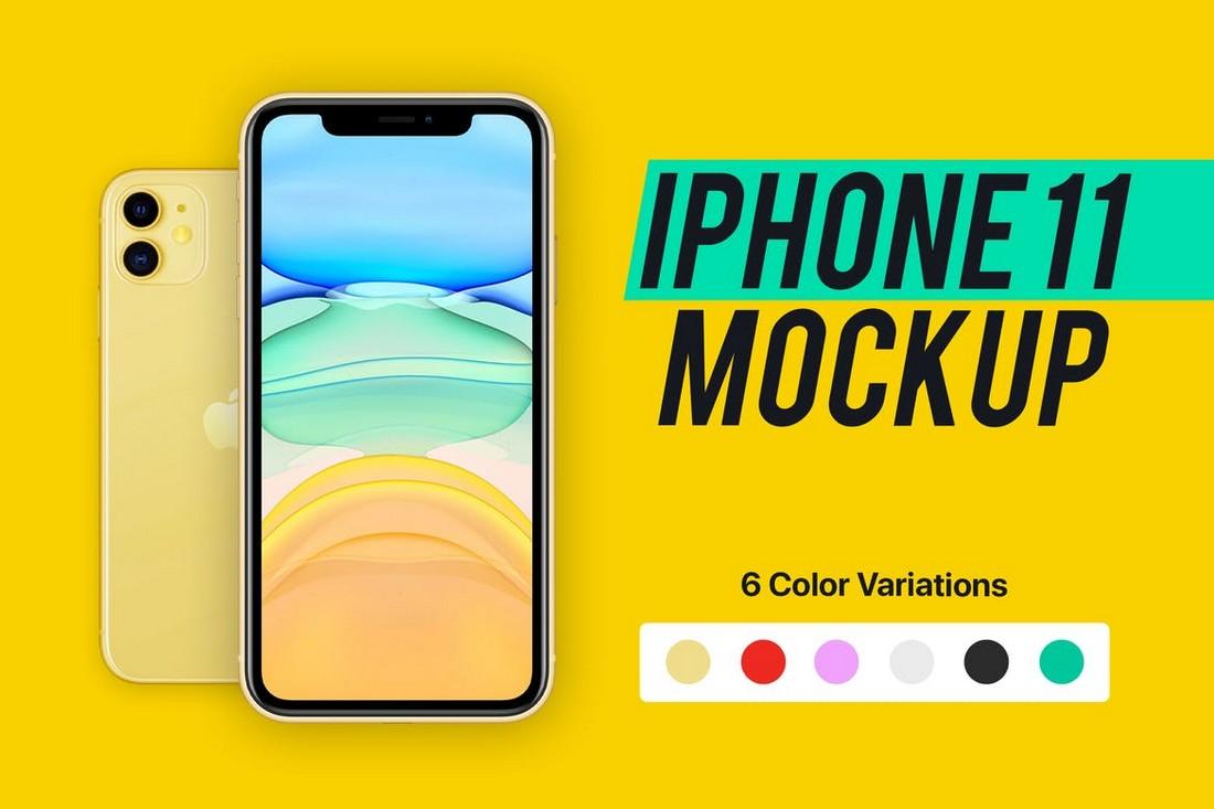 iPhone 11 Mockup (6 Colors)