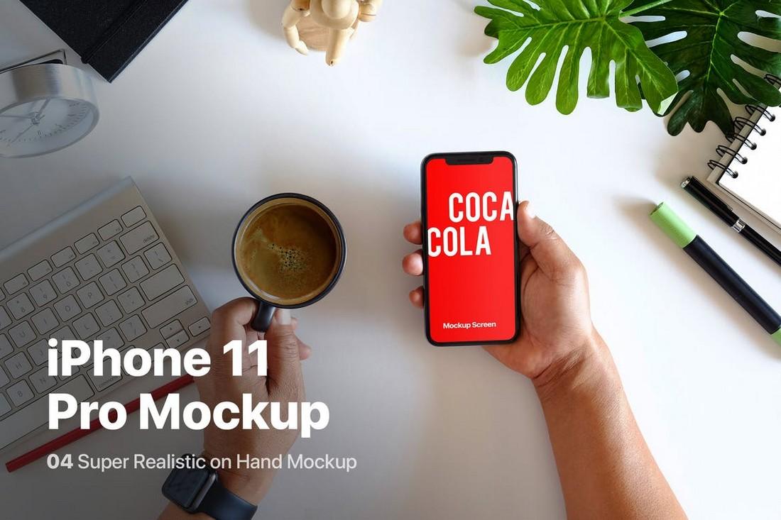 Maqueta del iPhone 11 Pro en la mano