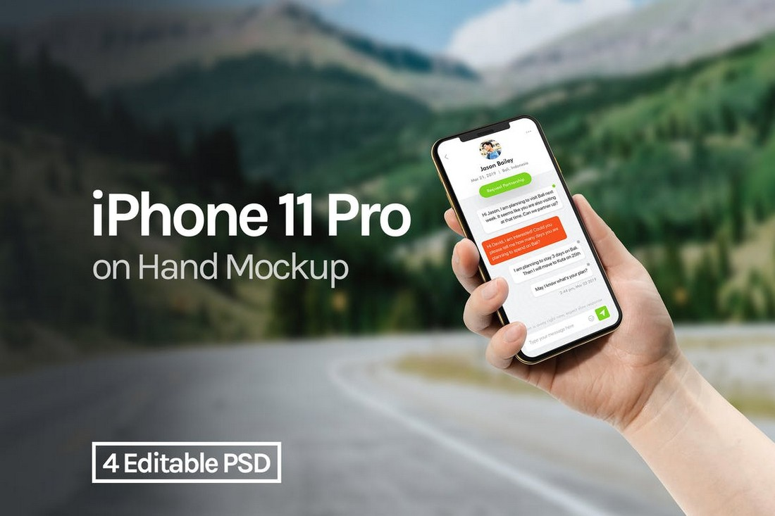 iPhone 11 Pro With Hand Mockup