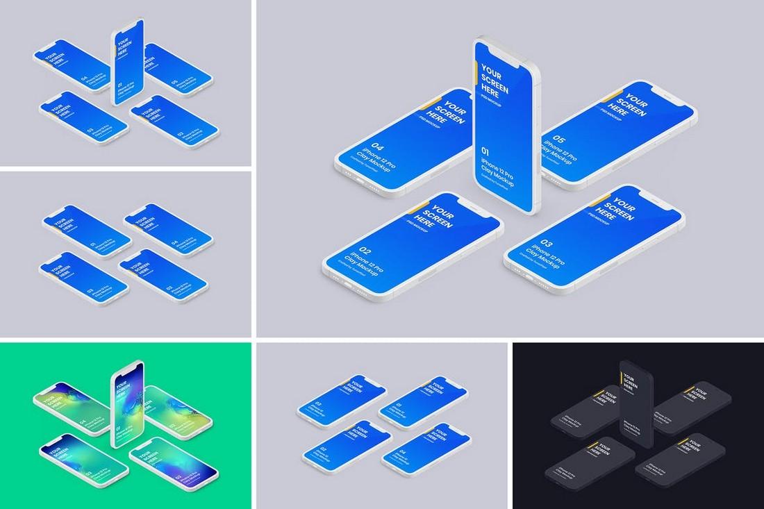 iPhone 12 Clay Isometric Mockups