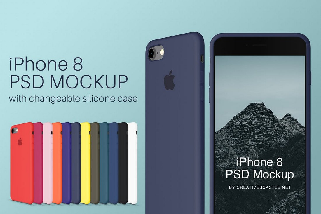 iPhone 8 PSD Mockup & Silicone Cases
