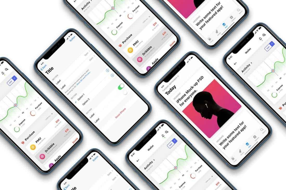 iPhone XR - Isometric Mockup Template