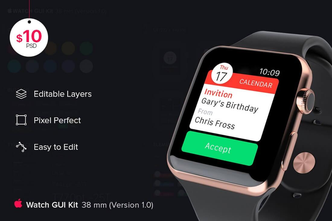 iWatch-GUI-kit 50+ Apple Watch Mockups & Graphics design tips