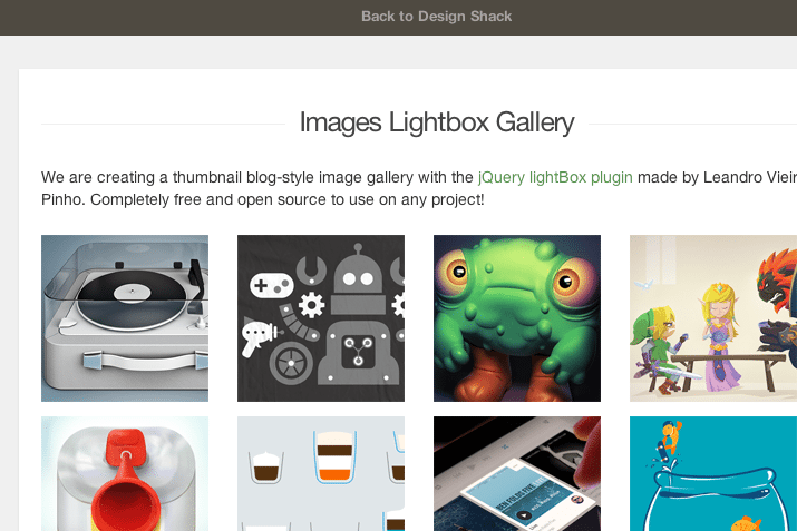 css3 blog thumbnail gallery lightbox effect