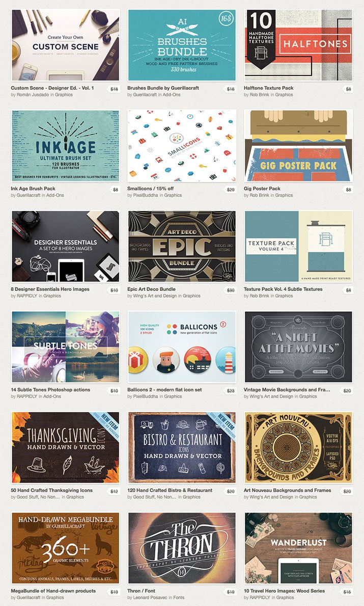 The Creative Market Super Deluxe Bundle 60 Items for Only 39