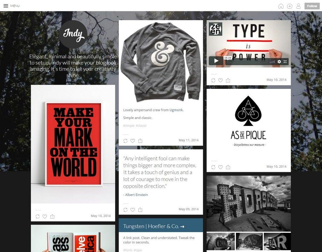 indy-tumblr-theme 50+ Best Free & Premium Tumblr Themes 2018 design tips