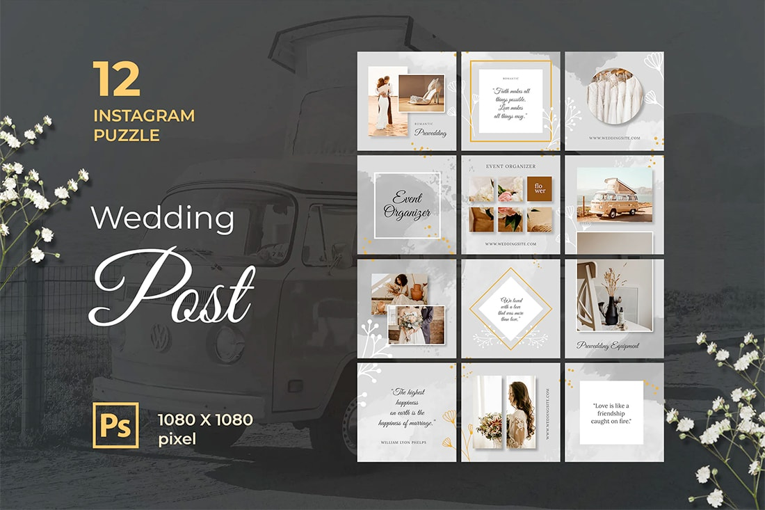 insta-grid-wedding Instagram Grid Templates: 10 Examples + Tips design tips  Inspiration|instagram|templates