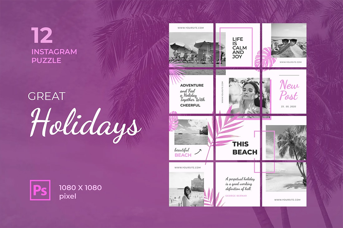 instagram-grid-holiday Instagram Grid Templates: 10 Examples + Tips design tips  Inspiration|instagram|templates