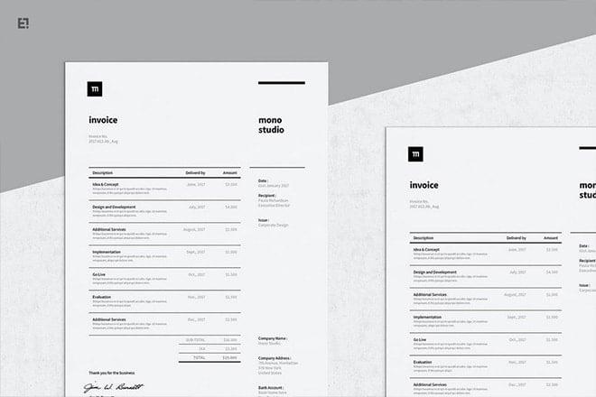 20 Best Invoice Templates For Indesign Illustrator Free Premium Design Shack