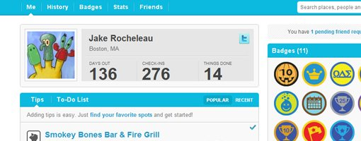 Jake Rocheleau 4sq user profile data