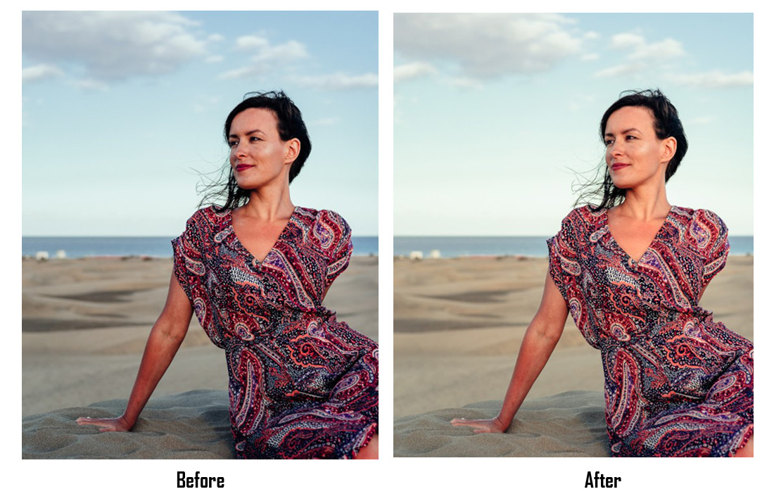 lightroom portrait editing - before after