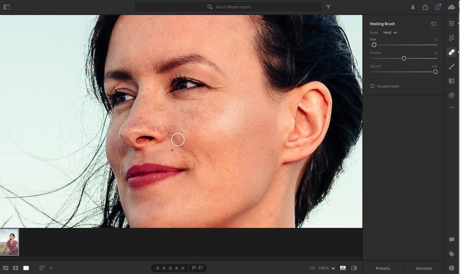 lightroom portrait editing - healing
