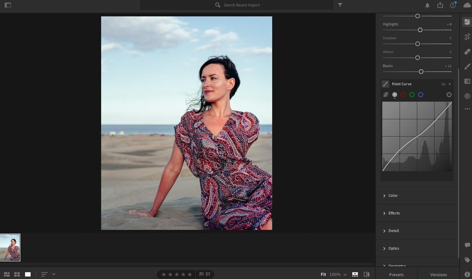lightroom portrait editing - point curve