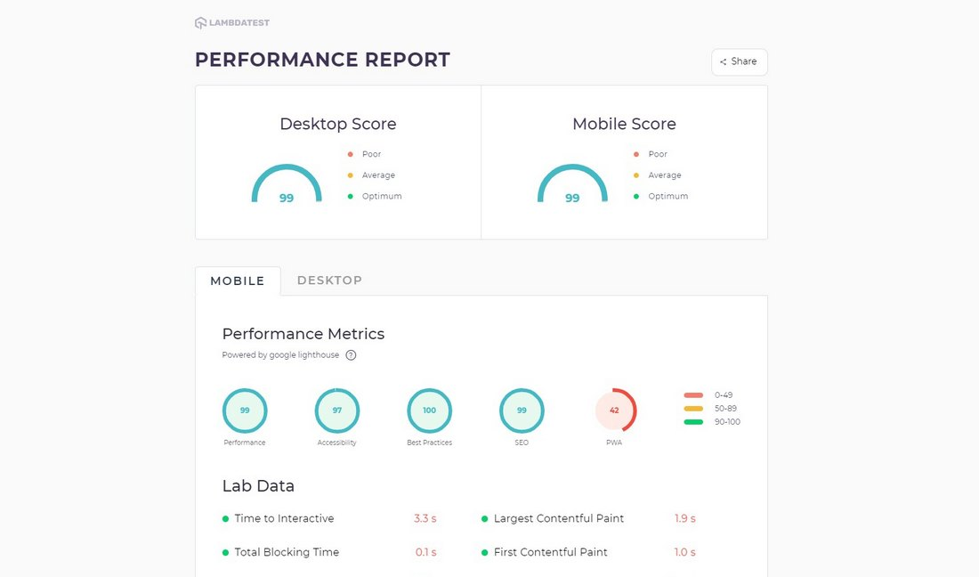 lt browser reports