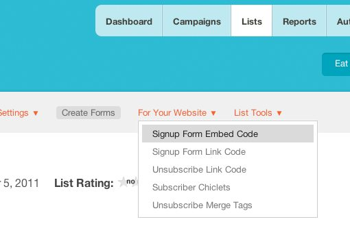 MailChimp Screenshot for Lists Signup