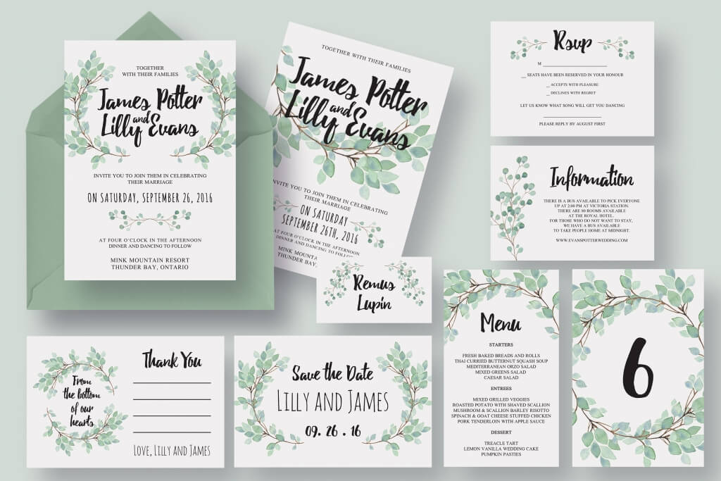 eucalyptus wedding invitation suite - How To Print Your Own Wedding Invitations