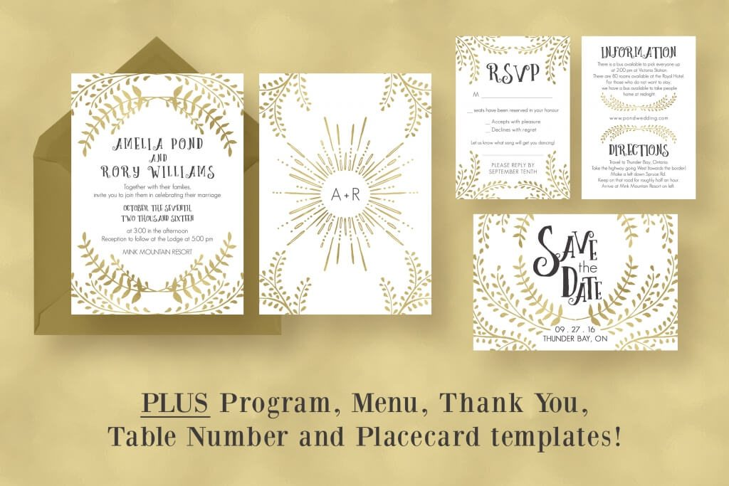 invitation suite includes wedding invitation, RSVP, information card ...