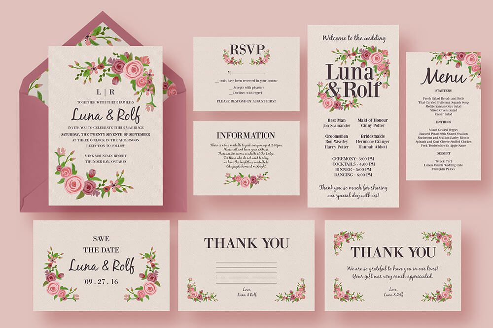 50 wonderful wedding invitation card design samples design shack floral wedding invitation suite stopboris Images