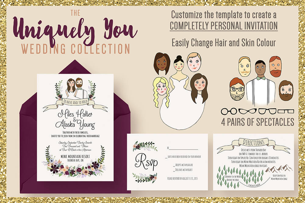 50 wonderful wedding invitation card design samples design shack wedding invitation template suite altavistaventures Choice Image
