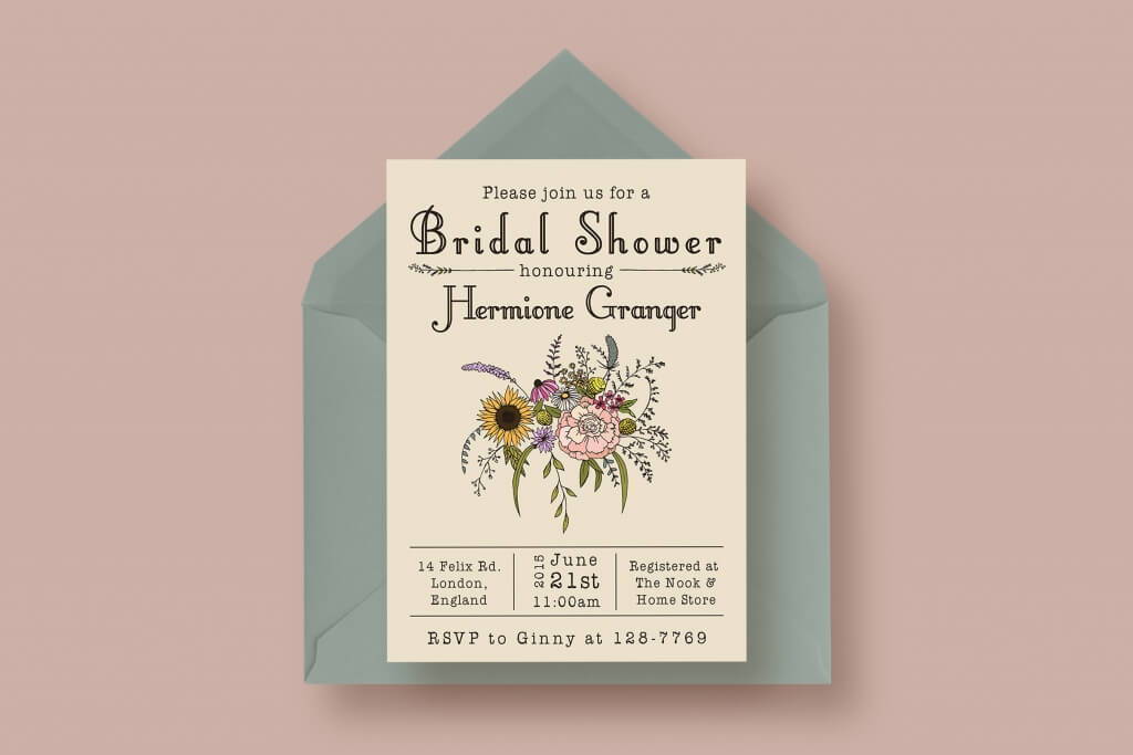 90 gorgeous wedding invitation templates design shack wildflower bridal shower invitation stopboris Image collections