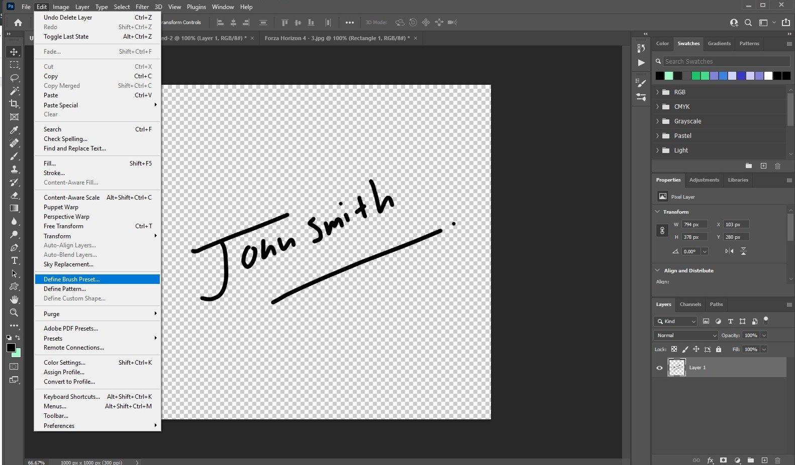 make watermark in photoshop - signature 2