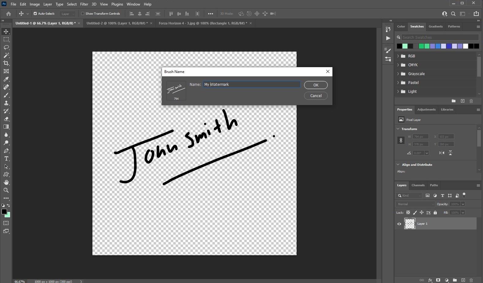 make watermark in photoshop - signature 3
