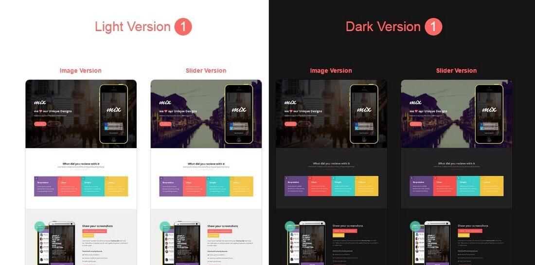 mix 30+ Clean & Minimal Landing Page Templates design tips